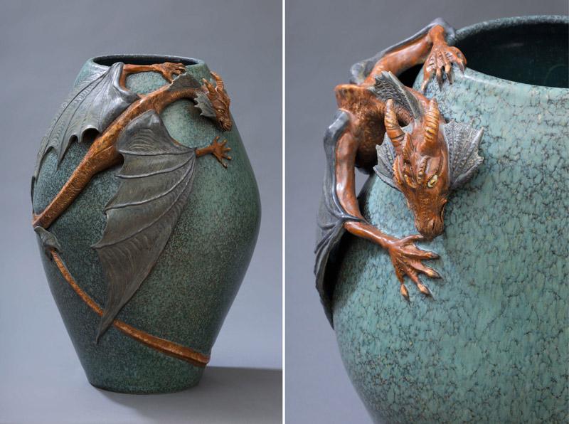 Colossal Dragon Vase Experimental Ephraim Pottery