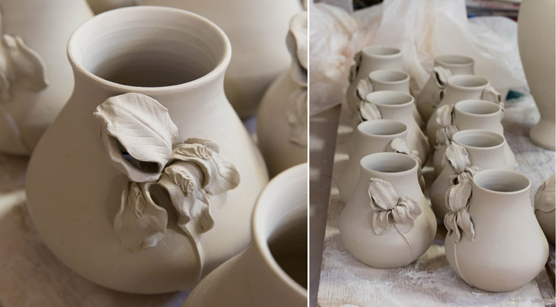 Iris Vases in greenware