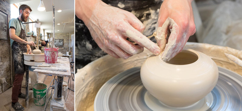 Artist throwing the vase on a potter's wheel.