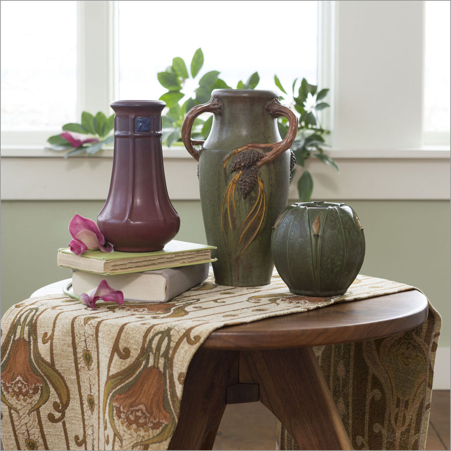 Ephraim Pottery vases shown on an Archive Editions Textile.