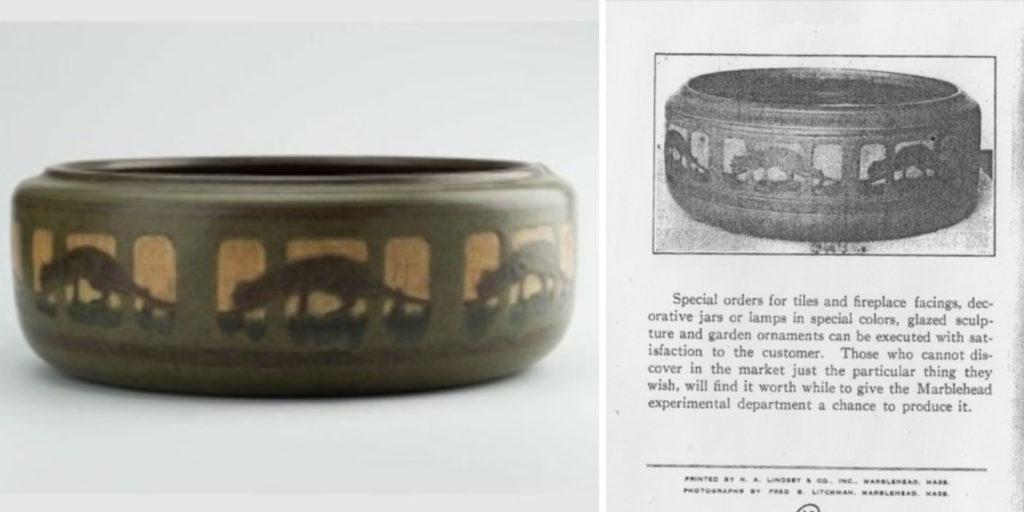 Stalking Panther Bowl, Marblehead Pottery - circa 1910
